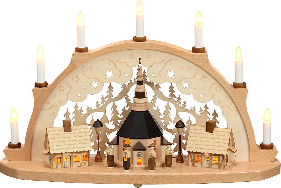 Zeidler Schwibbogen Seiffener Kirche, beleuchtet Häuser