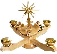 Candle holder advent with music angels natural