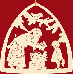 window decoration, handing out of presents
