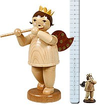 Big angel with flute, nature - 8.66 inches with-crown