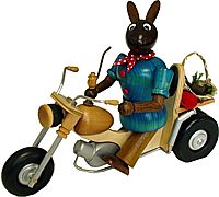 smoking Easter Bunny on the motorcycle, brown