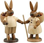 Rabbit couple with egg basket Natural