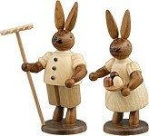 Rabbit couple with Rake and Bowl Natural