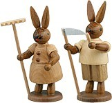 Rabbit couple with rakes and scythes Natural