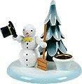 candle holder snowman with bucket and tree