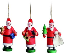 tree ornament, Santa Claus, 3 pieces
