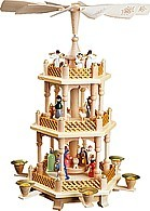 2-storeyed coloured Christmas pyramid, Nativity