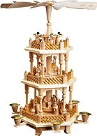 2-storeyed Christmas pyramid, Nativity - natural coloured