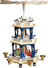 2-storeyed Christmas pyramid, Nativity -blue