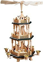 2-storeyed Christmas pyramid, Nativity - with green soils