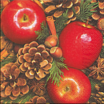 table napkins, apples with nuts