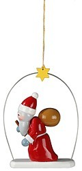 Christmas tree ornament, Santa in the ring, 3 parts