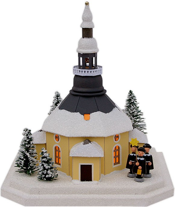 illuminated house, Seiffen church with carolers - medium-size