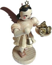 angel with short pleated skirt and  little bell