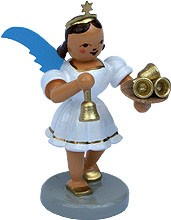 angel with short pleated skirt and little bell, coloured