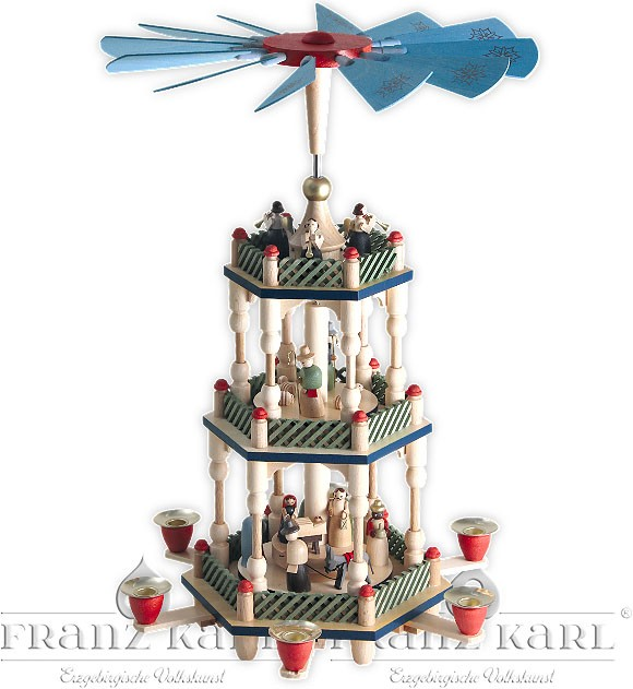 pyramid Nativity, 2-storeyed, colourful