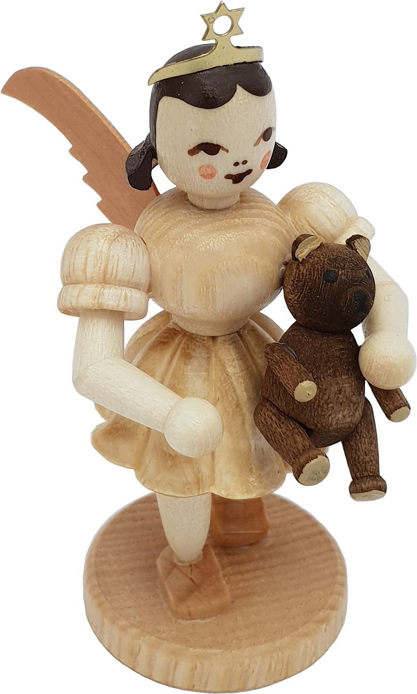 angel with short pleated skirt and teddy bear