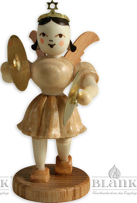 angel with short pleated skirt and cymbals