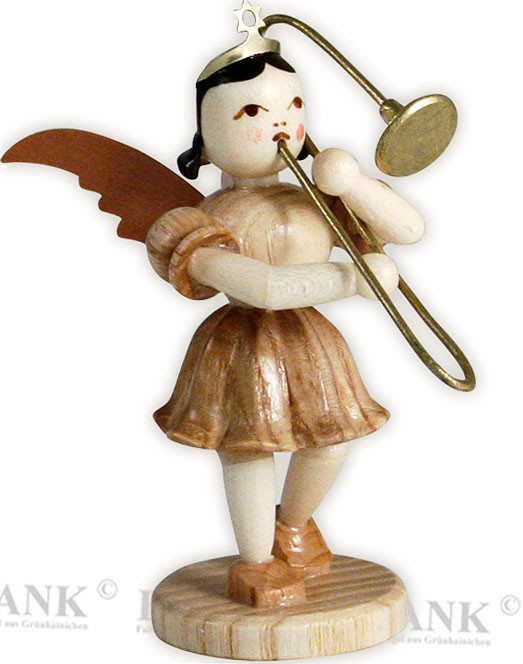 angel with short pleated skirt and slide trombone
