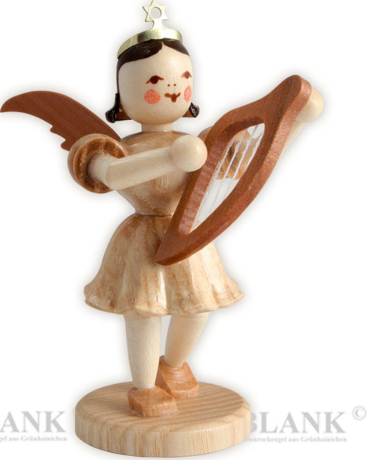 angel with short pleated skirt and lyre
