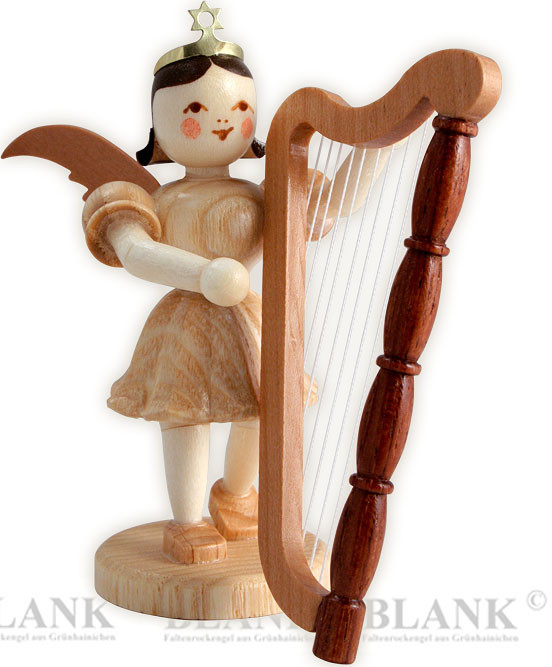 angel with short pleated skirt and harp
