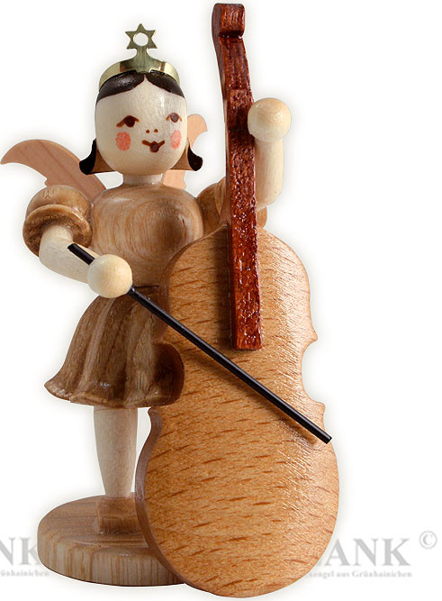 angel with short pleated skirt and contrabass