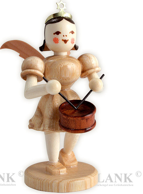 angel with short pleated skirt and drum