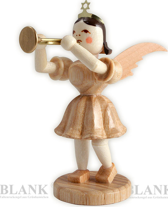 angel with short pleated skirt and trumpet