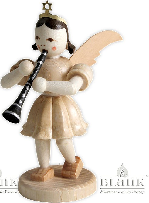 angel with short pleated skirt and clarinet