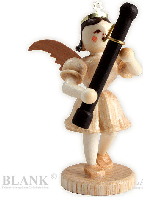 angel with short pleated skirt and bassoon