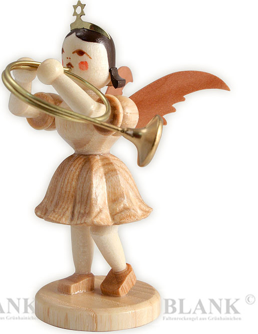 angel with short pleated skirt and alto horn