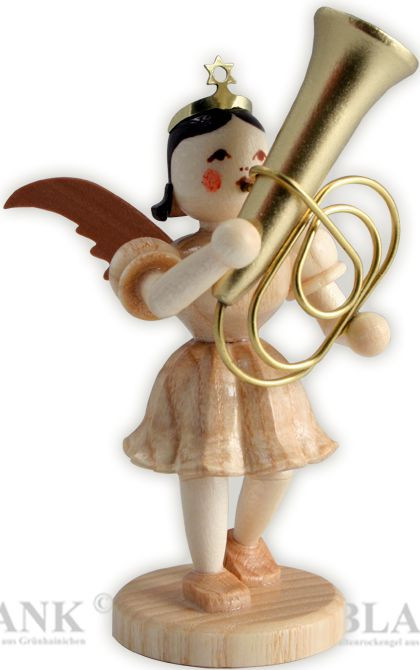 angel with short pleated skirt and tuba