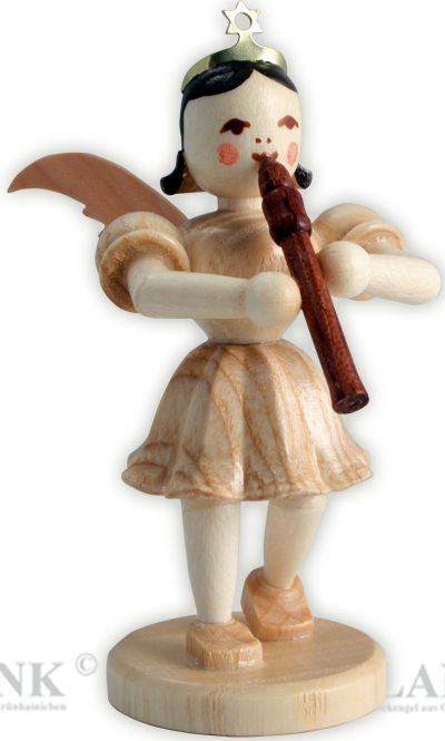 angel with short pleated skirt and recorder