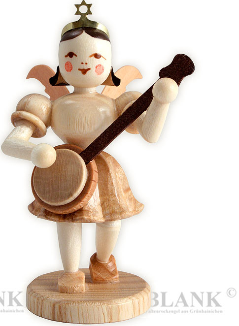 angel with short pleated skirt and banjo