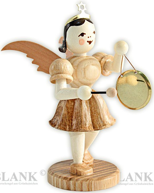 angel with short pleated skirt and gong