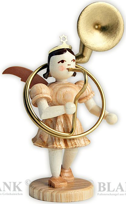 angel with short pleated skirt and sousaphone