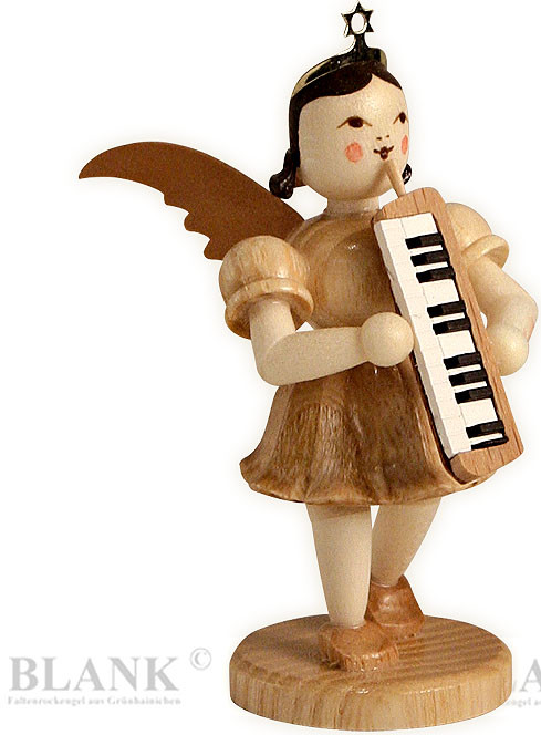 angel with short pleated skirt and melodica