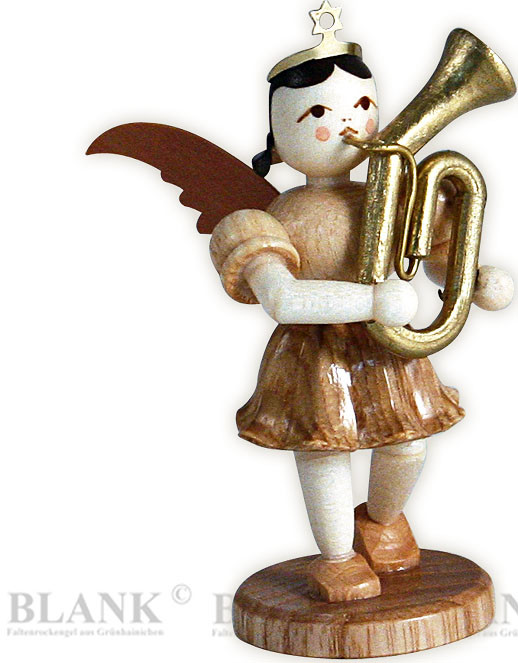 angel with short pleated skirt and tenor horn