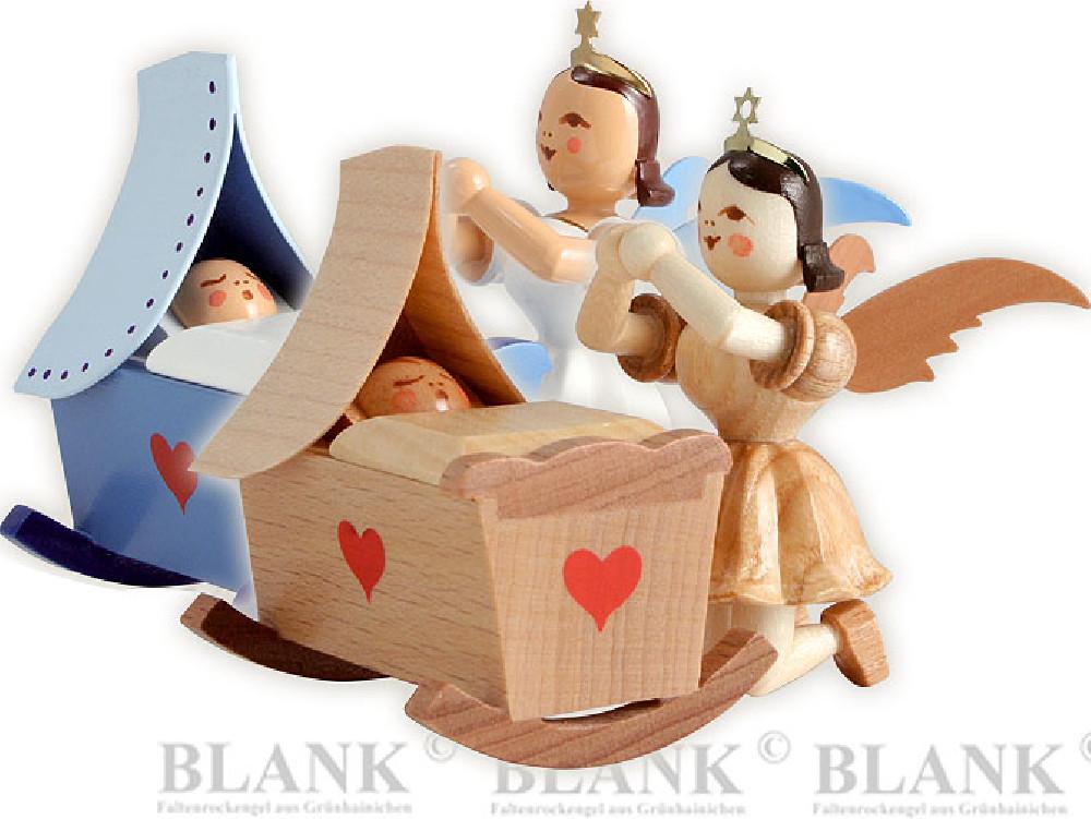 Blank Kurzrockengel mit Wiege und Engel, kniend
