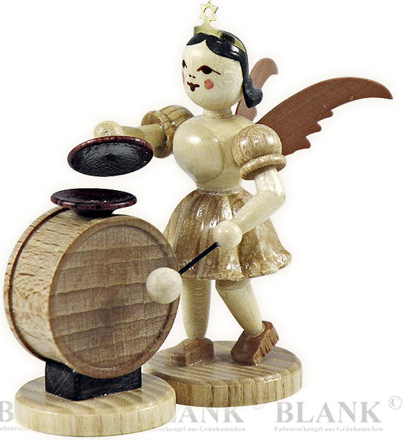 angel with short pleated skirt and cymbal-timpani