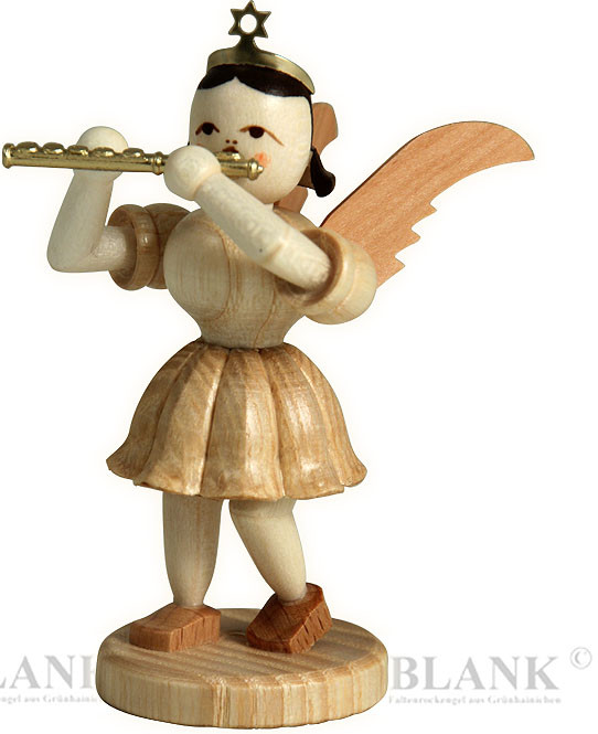 angel with short pleated skirt and piccolo