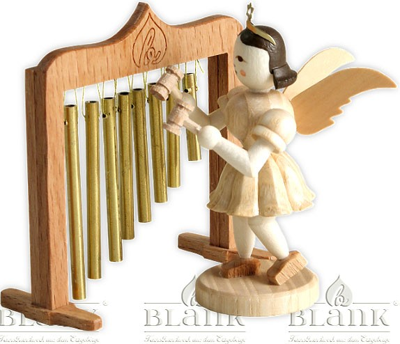 angel with short pleated skirt and chimes