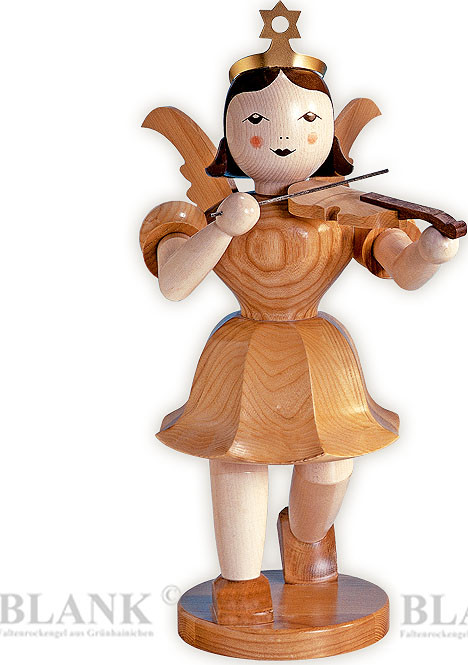 decorative angel with short pleated skirt and violin, 19.69 inches