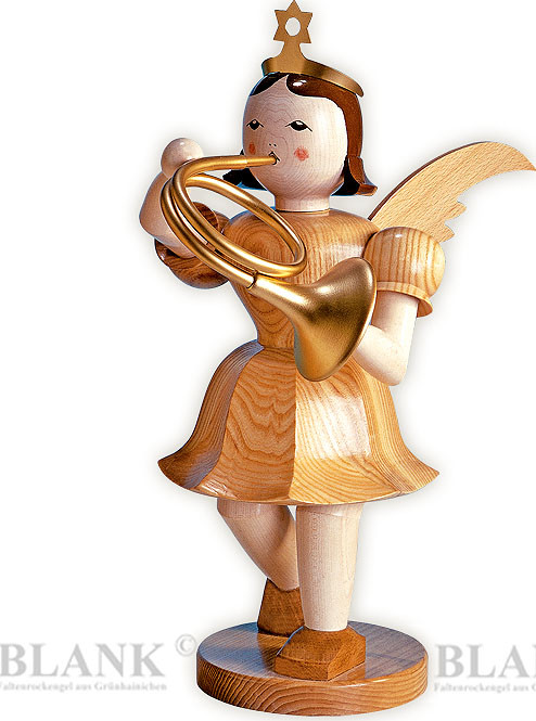 decorative angel with short pleated skirt and French horn, 19.69 inches