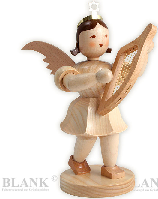 angel with short pleated skirt and lyre, 7.87 inches
