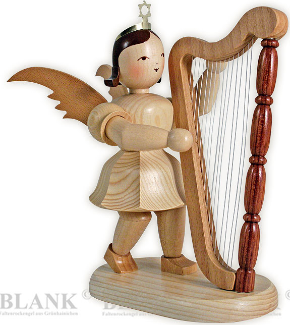 angel with short pleated skirt and harp, 7.87 inches
