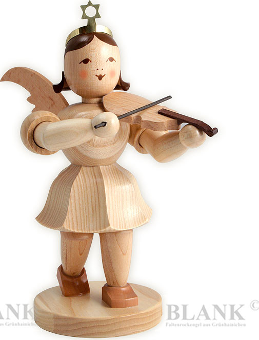 angel with short pleated skirt and violin, 7.87 inches