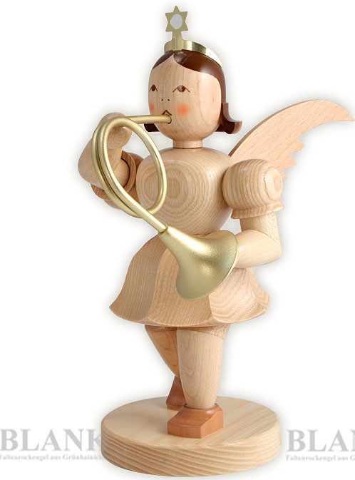 angel with short pleated skirt and French horn, 7.87 inches