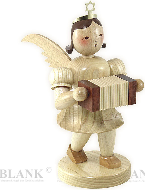 angel with short pleated skirt and concertina, 7.87 inches