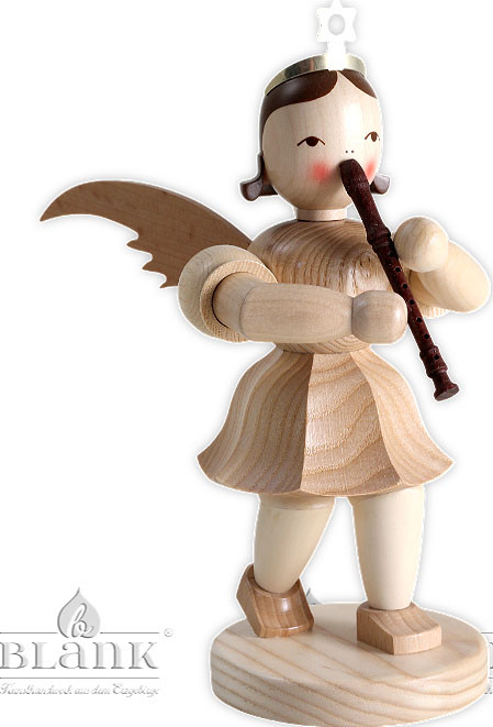 angel with short pleated skirt and recorder, 7.87 inches